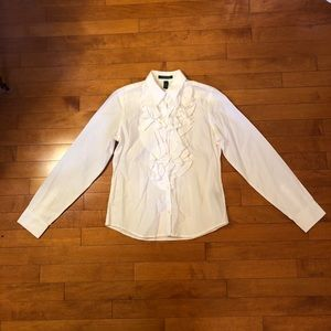 White ruffled Ralph Lauren top!